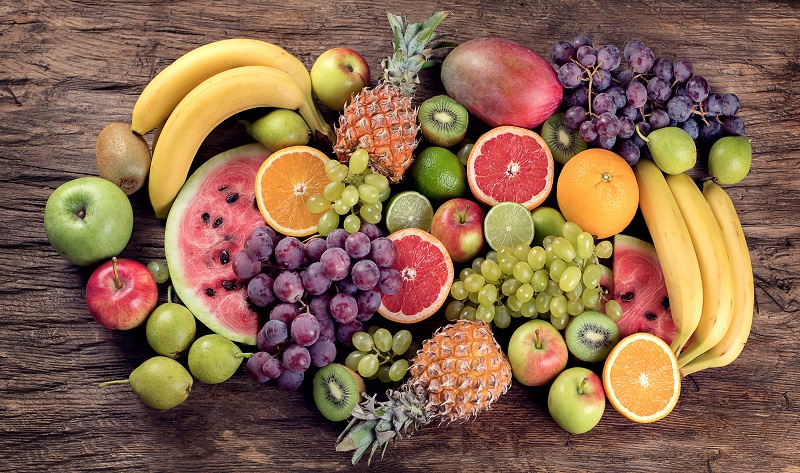 Fruits background. Healthy diet eating concept. Top view